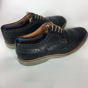 14th & Union Mens Blue Leather Oxford Shoes